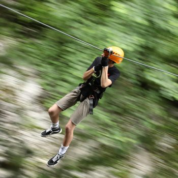 Zip-wire fun at Canyon Park, Bagni di Lucca
